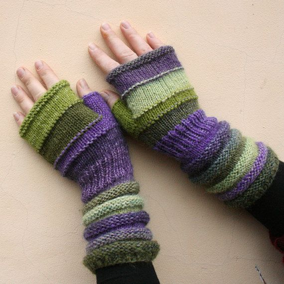 Wisteria  Unmatched Hand Knit Wrist Warmers door WrapturebyInese