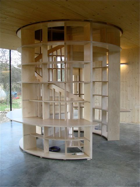 Best Shelves Incorporated Into Spiral Stairs Including An 640 x 480