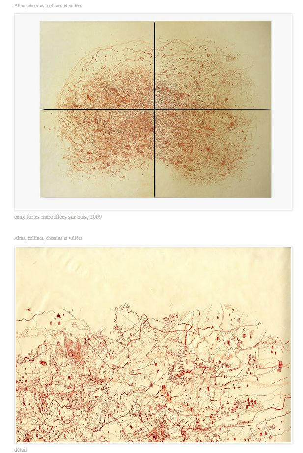 "Artist Muriel Moreau's anatomical cartographies of thought : ""Alma, chemins, collines et vallées"", etching. http://murielmoreau.blogspot.fr/"