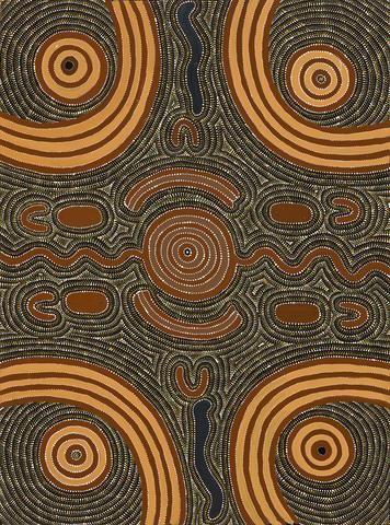 Aboriginal Art Painting 94D024, Cowboy Louie Pwerle, 1994