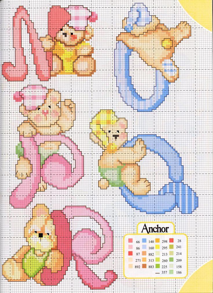 alfabeto teneri orsetti (5) - magiedifilo.it punto croce uncinetto schemi gratis hobby creativi