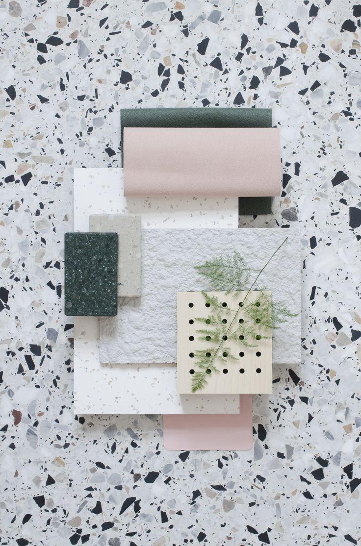granito tegels in combinatie met roze pastel tinten mood board tegels, interieur bord, licht interieur, zwart wit interieur