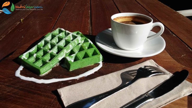 Pandan waffle with coconut cream - free of oil, butter and gluten, ready to be eaten anytime of the day, low or high carbs, depeding on the diet you are following.