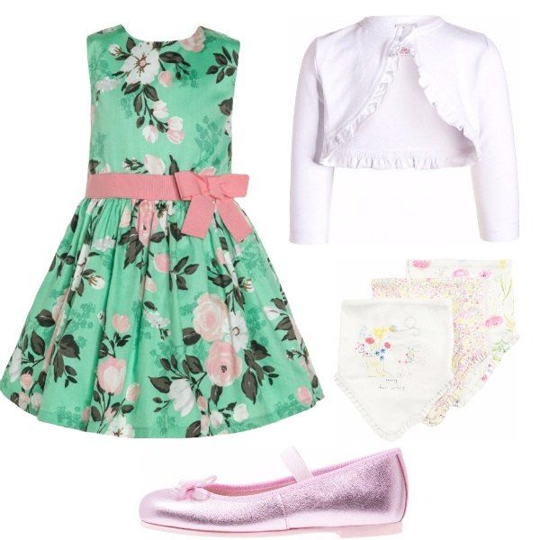 Per una mamma che vuole far sentire speciale la sua bambina in un giorno di festa, consiglio vestito elegante verde in cotone, in fantasia floreale, con sottoveste, cardigan bianco, ballerine con cinturino.