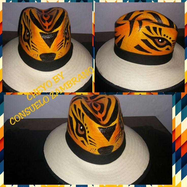 Sombrero pintado a mano tigre  Carnaval de Barranquilla