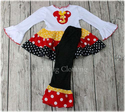 Custom Minnie Mouse Personalized Red Yellow and Black  White Polka Dot  Tiered Tee & Pant Outfit
