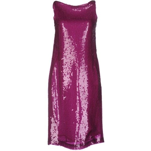 Aspesi Short Dress ($245) ❤ liked on Polyvore featuring dresses, mauve, purple dresses, short purple dresses, sequin embellished dress, purple cocktail dresses and no sleeve dress