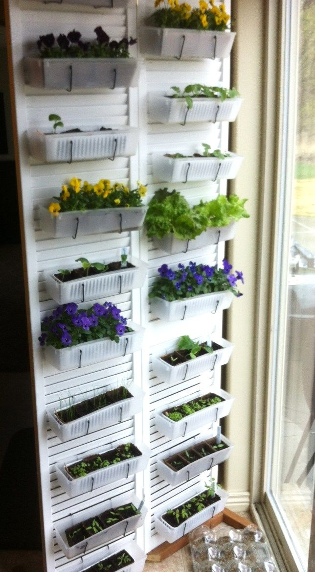 Mom's DIY Vertical Kitchen Garden  seed Starting System.  From http://www.teencraftconnection.com