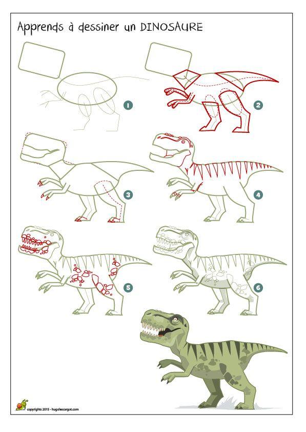 Apprendre à dessiner un dinosaure, colorier un dinosaure