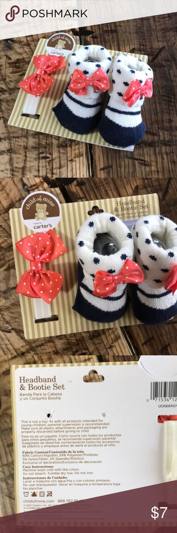 💕 Child of Mine Headband and Bootie Set 💕 💕 Newborn Child of Mine Headband and Bootie Set Blue and White Sock Booties with Pink / Orange and White bows. White and Pink / Orange Headband. NWT!  💌 Ships to you within 24 Hours! 🚫Smoke FREE❗️ Carter's Accessories Socks & Tights