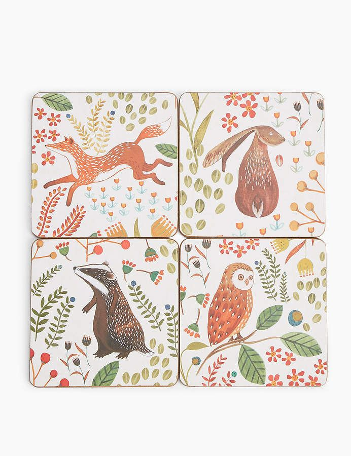 Marks And Spencer Set Of 4 Woodland Print Coasters Egyptian