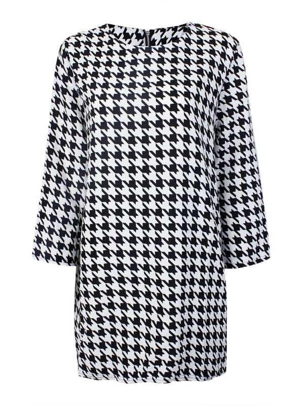 Casual dresses for 50 year old woman women swallow grid three quarter sleeve cambric loose dress #casual #dresses #at #kohls #casual #dresses #egypt #casual #dresses #to #wear #to #a #wedding #sketches #of #casual #dresses