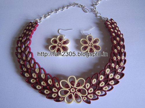 Free Form Quilling - Paper Quilling Jewelry Set (FAH01-226) - For buying please contact us at: fah2305@yahoo.co.in