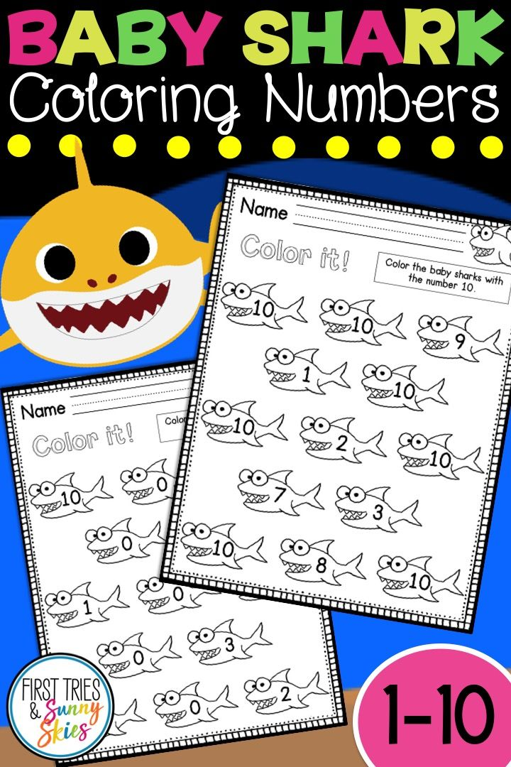 Baby Shark Number ID 0-10 Coloring Worksheets ...
