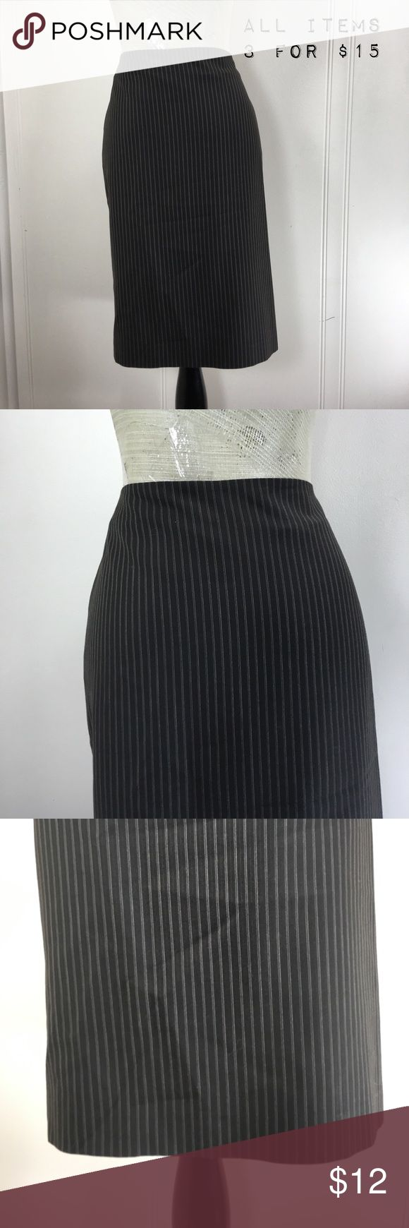 "Ann Taylor Chocolate Brown Pinstriped Pencil Skirt Preowned condition. No stains or holes. Normal wash and wear.             Tag Size: women's 6.                          Waist Flat: 15"". Hips: 19"" Length: 23"".   Form Fitting. No stretch.                     Please go off measurements and NOT Tag Size. Sizes differ from company to company. I 💜questions! Please ask any and all questions before purchasing.   Thanks! ~Rag Time Machine.~ Ann Taylor Skirts Pencil"