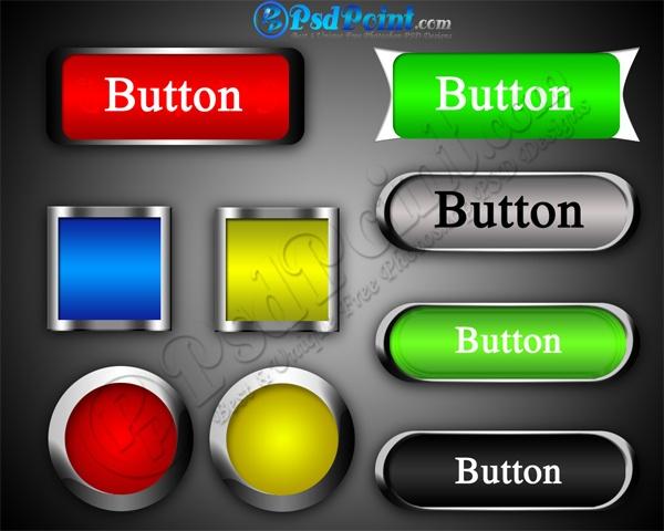 Web Pro Buttons Multicolor Design PSD Free Download