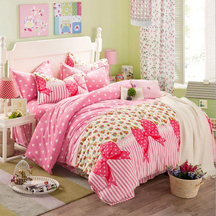 Cute, Cozy Korean Style Bedding Set - Pink Bowtie