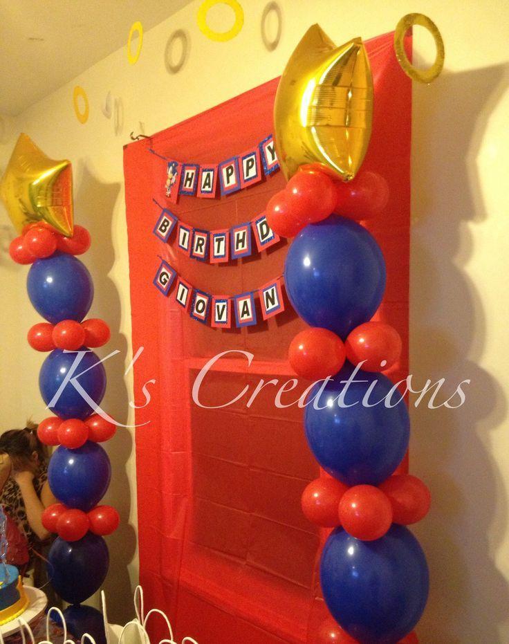 Sonic balloons, sonic rings, sonic birthday party, sonic goody