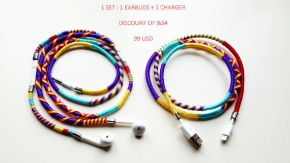 Wrapped Colorful Earbuds with mic, Handwrapped Multicolor Earbuds, Wrapped Colorful Lightning cables, Handmade Earbuds, 1 SET, %34 DISCOUNT