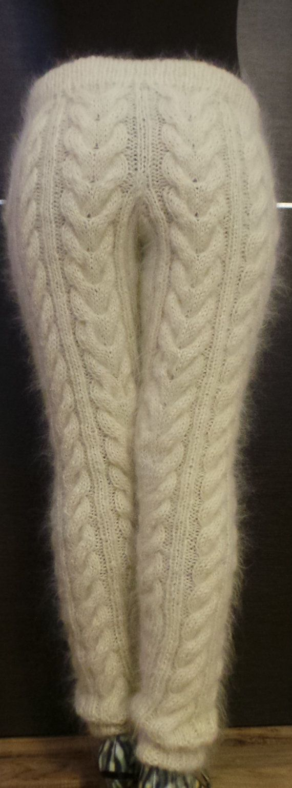 Hand Knit Cable Mohair Pants with pockets by EXTRAVAGANTZA