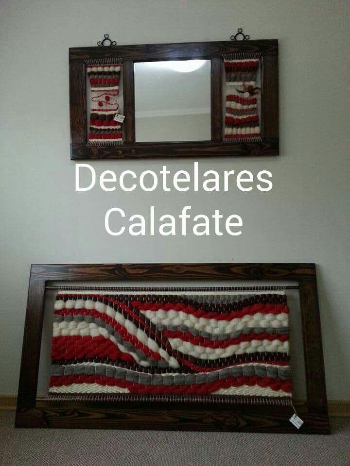 Espejo y cuadro de telar decorativo