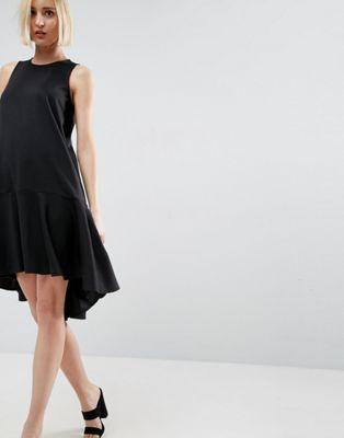 ASOS Shift Dress With Drop Frill Hem