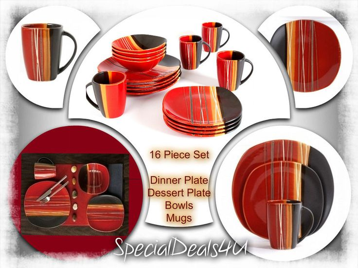 Trendy Dinnerware Set 16 Piece Square Dinner Service Dishes Kitchen Plates Cups #SpecialDeals4U