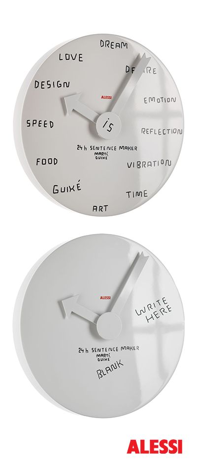 24h sentence maker - wall clock, Martí Guixé, 2010 #alessi #design