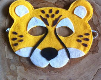 cheetah felt mask... cheetah mask... Childrens mask... Dress up... cheetah Costume...Tiger Lover