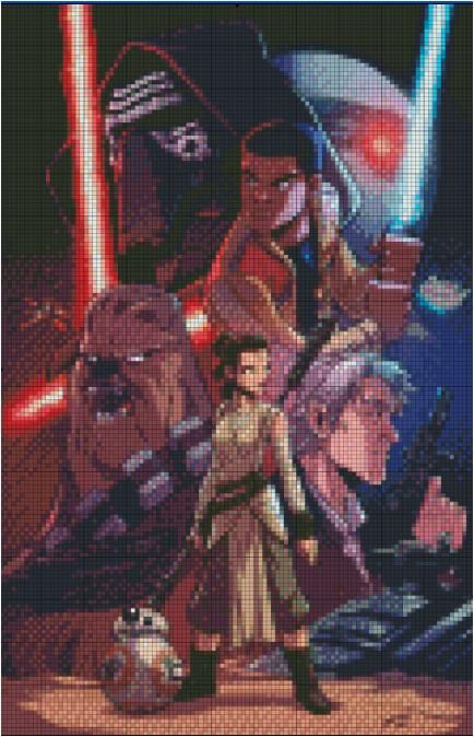The Force has awoken! For any Star Wars fan this cross stitch pattern is a must. It has all our new favorite characters - Rey, Kylo Ren, Finn and more. Etsy Shop- Stitch and a Song.