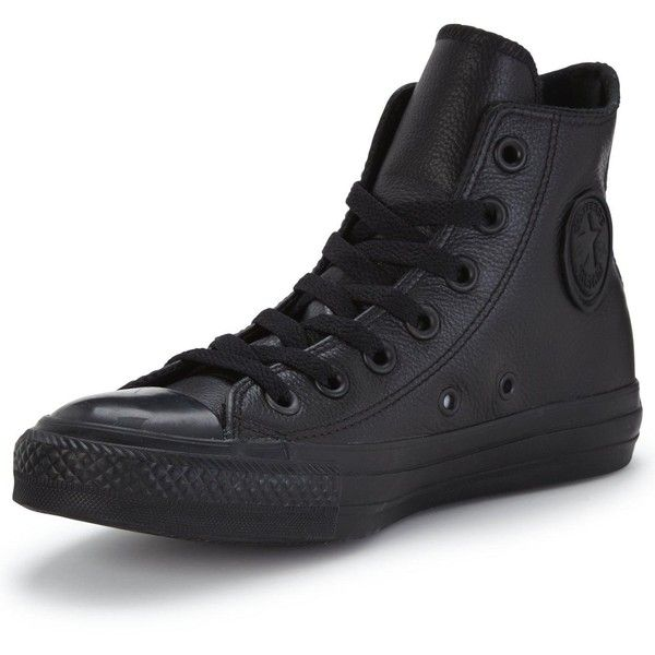 Converse Chuck Taylor All Star Leather Hi-Top Plimsolls ($89) ❤ liked on Polyvore featuring shoes, sneakers, black high tops, leather high top sneakers, leather high tops, high top sneakers and black leather high tops