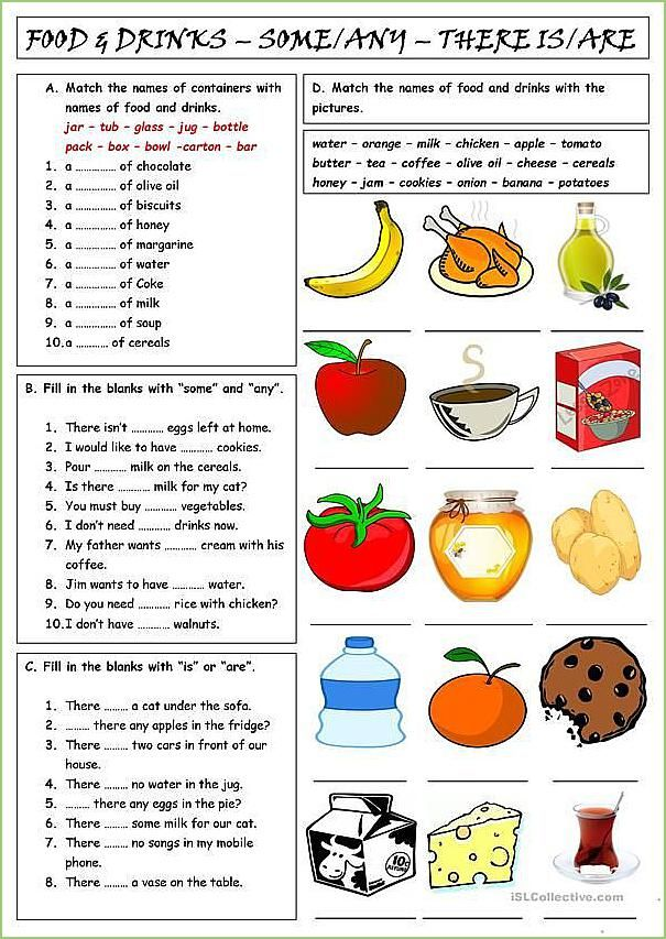 Food Drinks Some Any There Is Are English Esl Worksheets Ingles Basico Para Niños Actividades De Inglés Para Niños Temas De Ingles