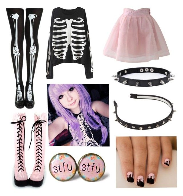 """pastel goth #14"" by ironically-a-strider21 ❤ liked on Polyvore"