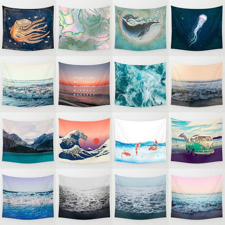 Cartoon Sea Waves Art Hanging Wall Hippie Tapestry Home Decor Yoga Beach Towel #Unbranded #Modern