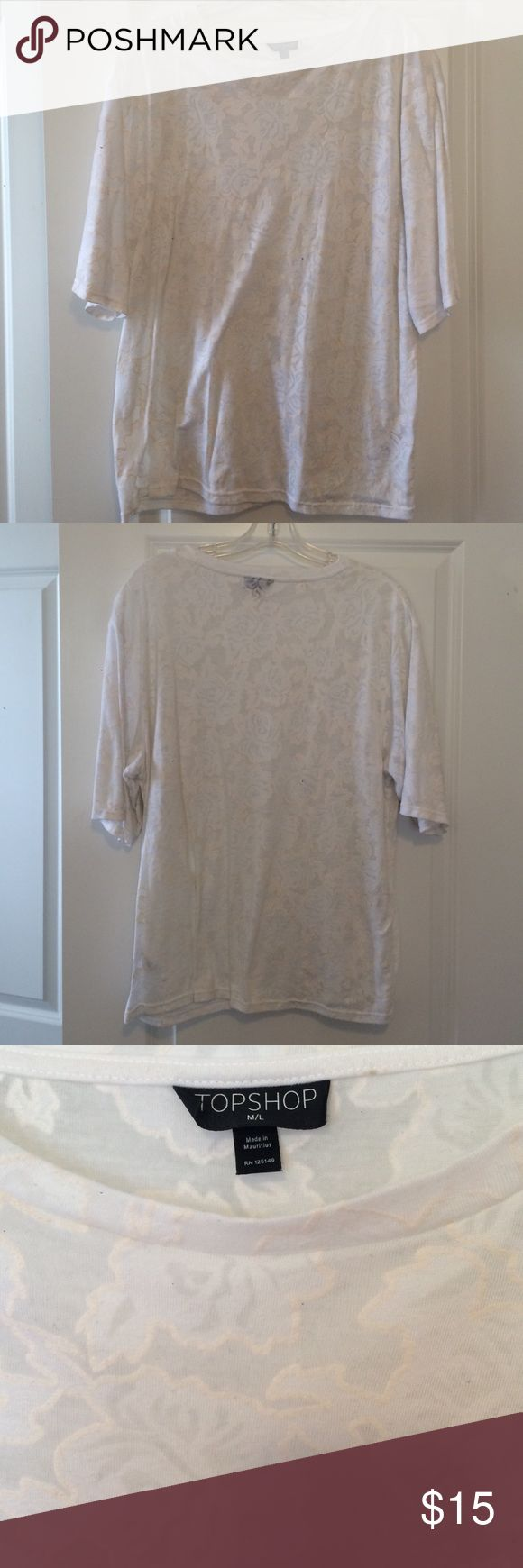 EUC White Lace print Topshop T Shirt EUC White Lace print Topshop T Shirt. T shirt is mostly see through, but so cute with a bralette underneath! Size M/L Topshop Tops Tees - Short Sleeve