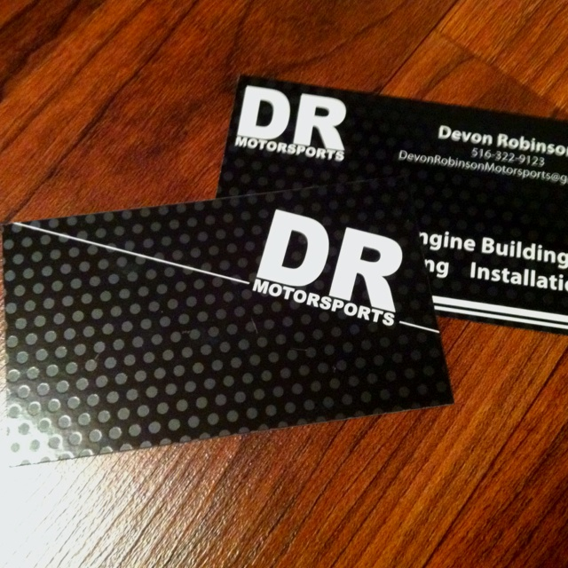 spot uv business card design for dr motorsports