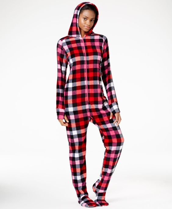 Jenni by Jennifer Moore Footed Hooded Adult Onesie Pajamas, Only at Macy's