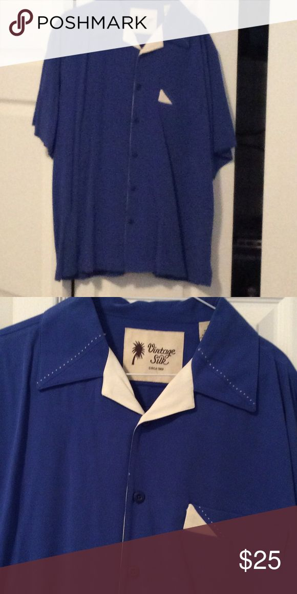 Men's Silk Dressy Shirt Blue Silk Shirt great for going out on a date! Vintage Silk Shirts