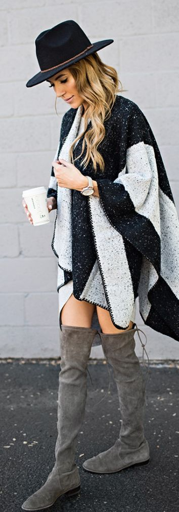 Grey Suede O T K B Grey And Black Striped Cape Black Fedora Hat Fall Inspo by Hello Fashion