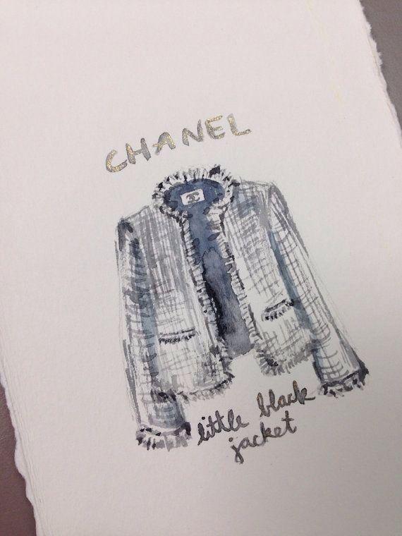 ORIGINAL Chanel Little Black Jacket Painting - Iconic Fashion, Tweed Jacket…
