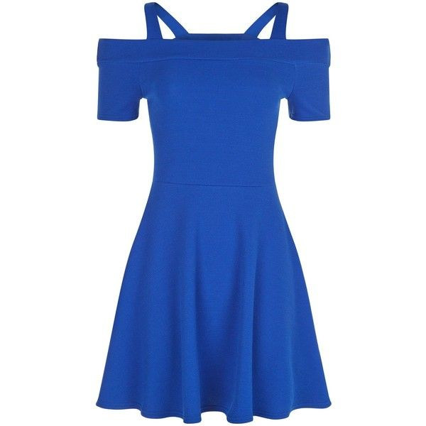 New Look Teens Blue Cold Shoulder Skater Dress ($19) ❤ liked on Polyvore featuring dresses, blue, going out dresses, blue dress, skater party dresses, blue skater dress and night out dresses