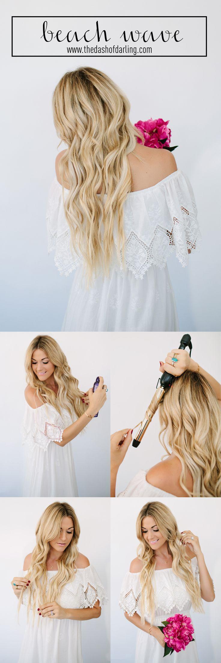 Mermaid beach waves hair tutorial by @caitlinclairexo