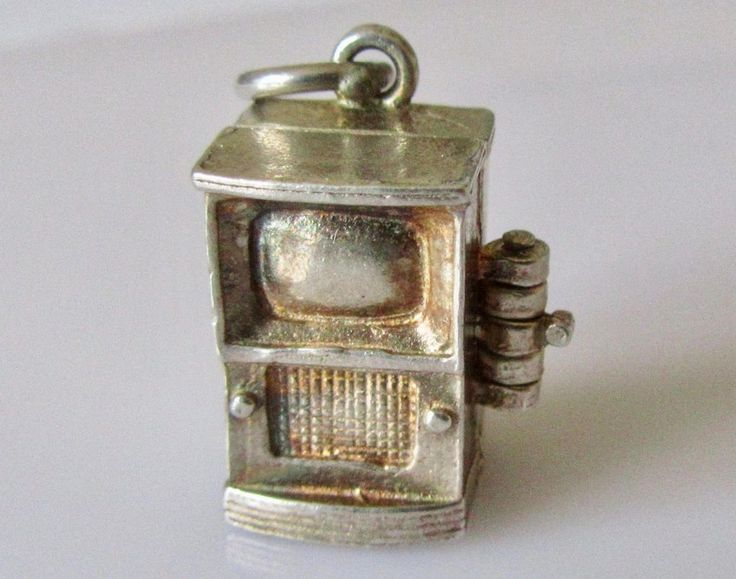 Vintage Sterling Silver Television or TV Charm Opens to Camera by TrueVintageCharms on Etsy