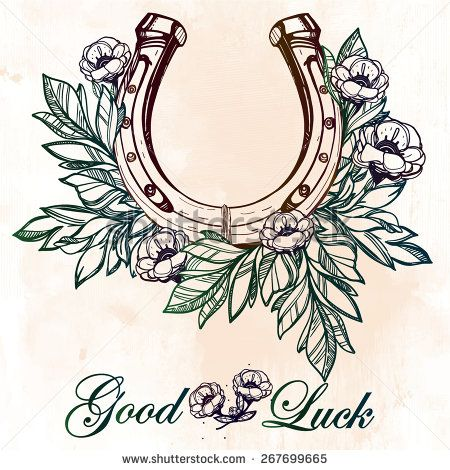 Beautiful good luck horseshoe amulet charm with flowers and leaves. Isolated elements. Tattoo design. Vector illustration on grunge background.  - stock vector