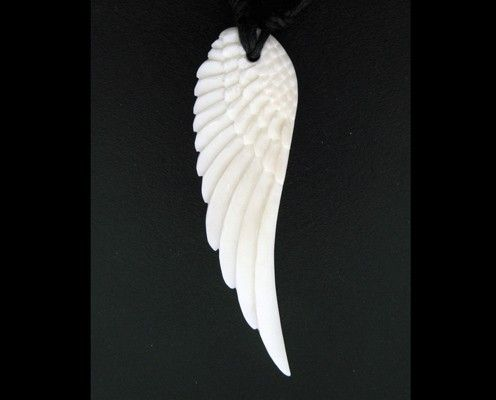 Bone Pendant  White Angel Wing by TribalStyle on Etsy, $18.00