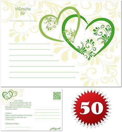 Romantisch für jede Hochzeit: Lassen Sie Ballons mit Postkarten in dem Himmel steigen! Auf den Postkarten sind Wünsche für das Brautpaar geschrieben.