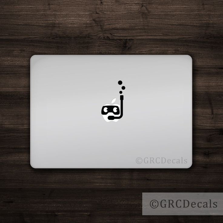 Snorkeler mac apple logo cover laptop vinyl decal sticker macbook decal unique certified swim ocean scuba diver