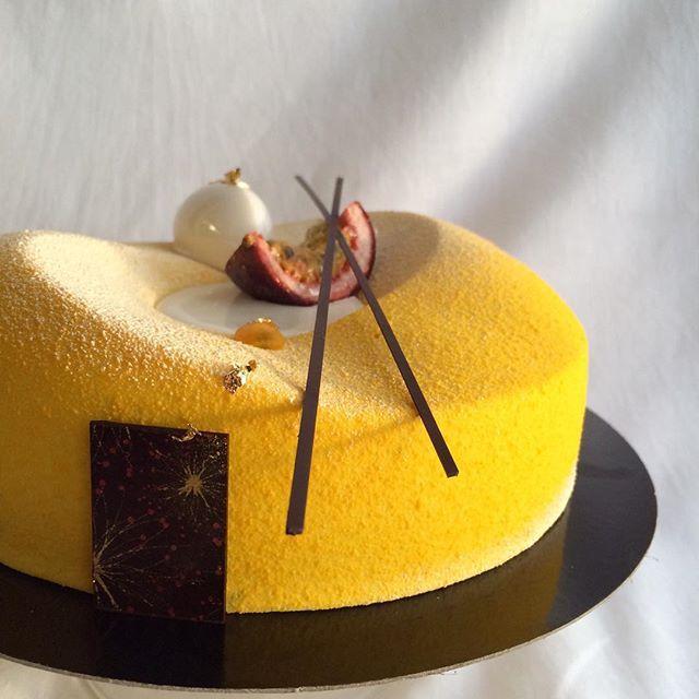 Mango-passion fruit-almond #entremet