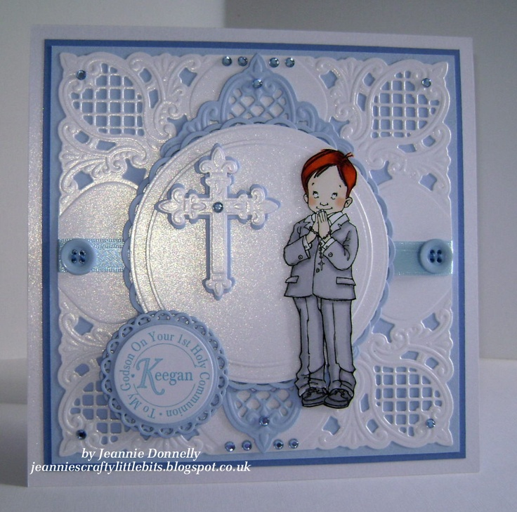 1st Holy Communion for a little boy - Mo Manning image, Marianne and Spellbinders Dies