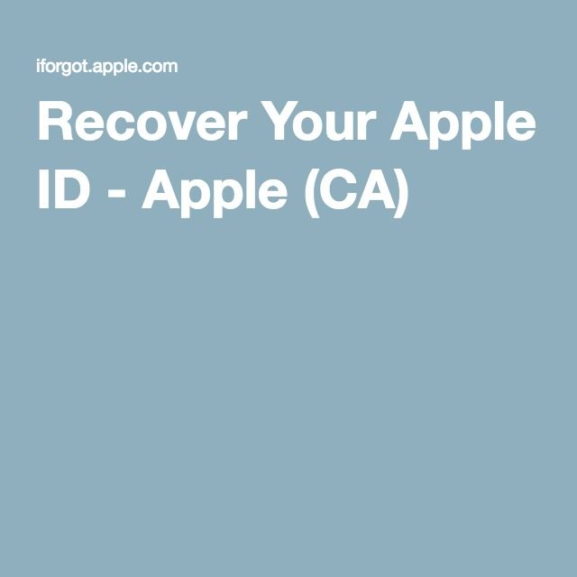 Recover Your Apple ID - Apple (CA)